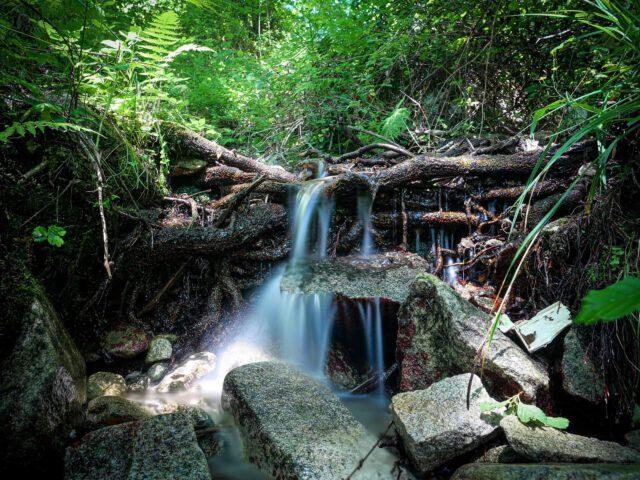 Kleiner Wasserfall - das Wasser bahnt sich seinen Weg